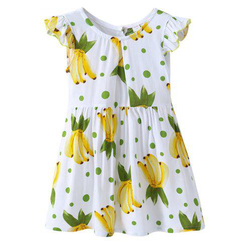 XXQZ Cotton Short-sleeved Dress for Girls - multicolor A 4-5YEARS(120)