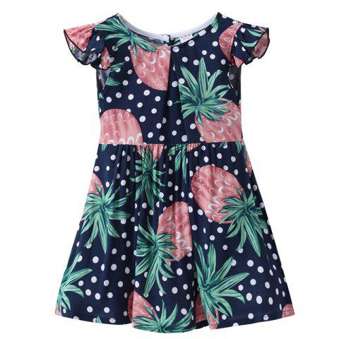 XXQZ Cotton Short-sleeved Dress for Girls - multicolor D 4-5YEARS(120)