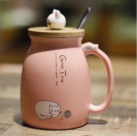 Creative Cat Heat-resistant Cup Cartoon with Lid Coffee Office Drink Gift Mug 450ml - LIGHT PINK
