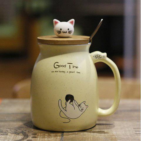 Creative Cat Heat-resistant Cup Cartoon with Lid Coffee Office Drink Gift Mug 450ml - SUN YELLOW