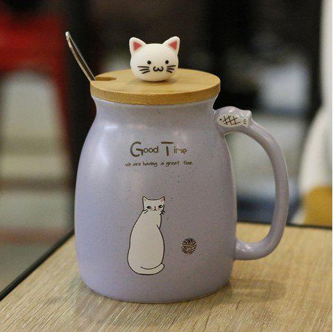 Creative Cat Heat-resistant Cup Cartoon with Lid Coffee Office Drink Gift Mug 450ml - PASTEL BLUE