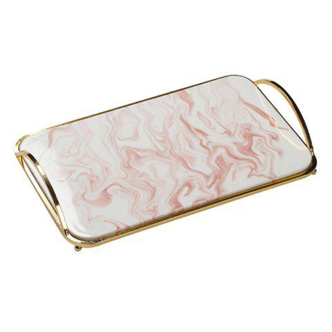 Ceramic Marbled Cake Dim Sum Western Food Tray Jewelry Storage Plate - PINK 36*22*5.5CM