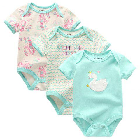 KIDDIEZOOM Baby Cartoon Short Sleeve Rompers 3pcs - multicolor A 0 - 3 MONTHS