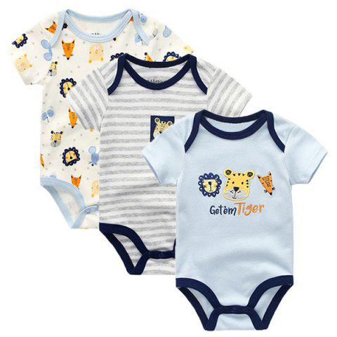 KIDDIEZOOM Baby Cartoon Short Sleeve Rompers 3pcs - multicolor B 0 - 3 MONTHS
