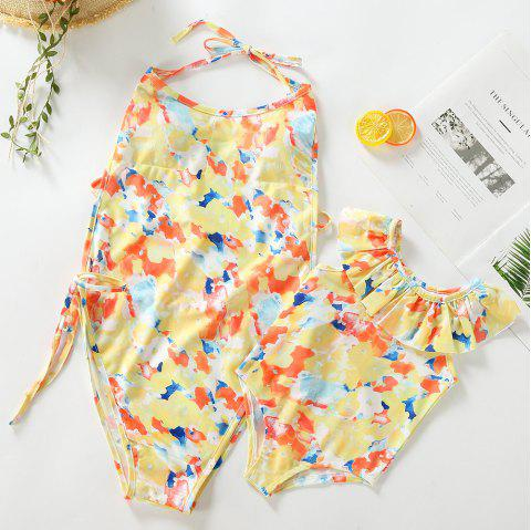 3302 Print One-piece Swimsuit Parent-child Clothing - YELLOW MOTHER XL