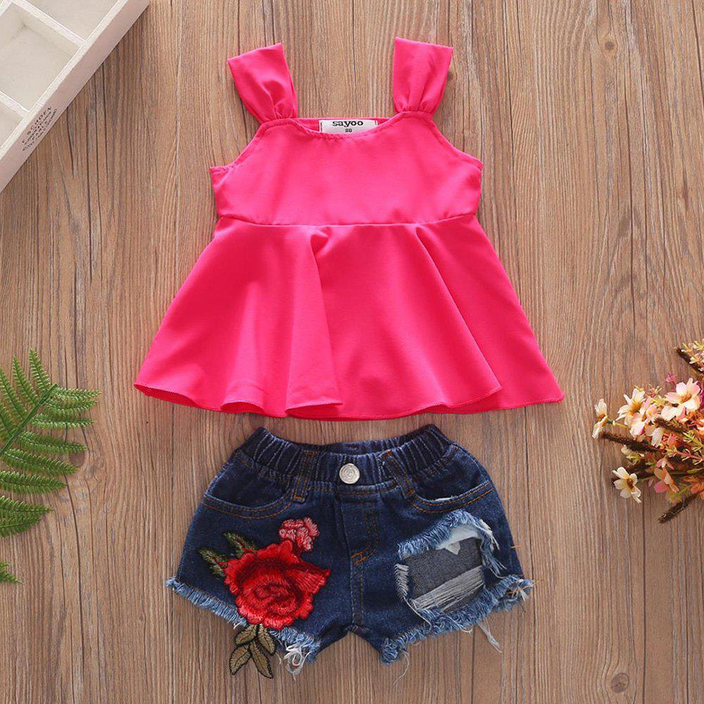 1269 Girls Polyester Vest Rose Hole Denim Shorts - VALENTINE RED 4-5YEARS(110CM)