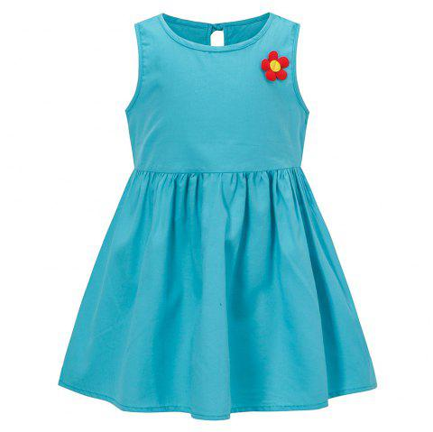 YR - 05091 Solid Color Dress - CRYSTAL BLUE 6YEARS(130)