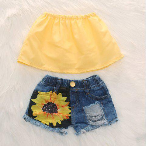 1274 Cotton Off-the-shoulder Top Sunflower Hole Denim Shorts - YELLOW 5-6YEARS(120CM)