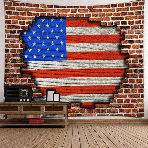 Brick Wall Hole American Flag Pattern Tapestry - multicolor A 230 X 180CM