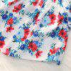 1273 Polyester Floral Print Flying Sleeves Shirt and Stars Striped Hole Denim Shorts - CRYSTAL CREAM 6-7YEARS(130CM)