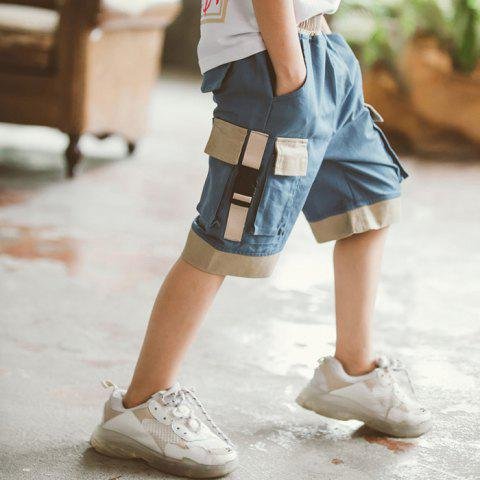 DD1196 Boy Multi-bag Color Matching Casual Five Pants - BLUE GRAY 13-15YEARS(170CM)