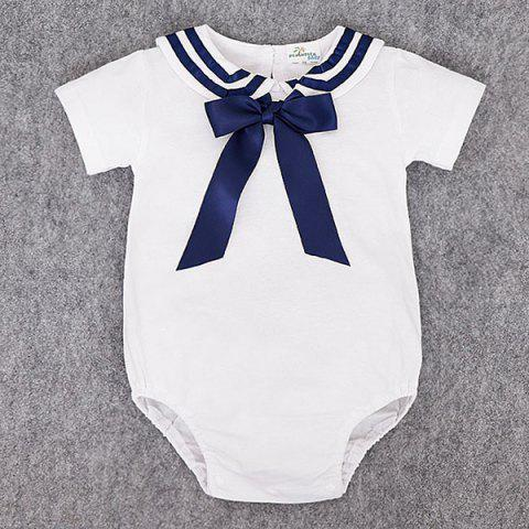 Baby Cute Navy Triangle Cotton Romper with Socks - WHITE 1-3MONTH(70)