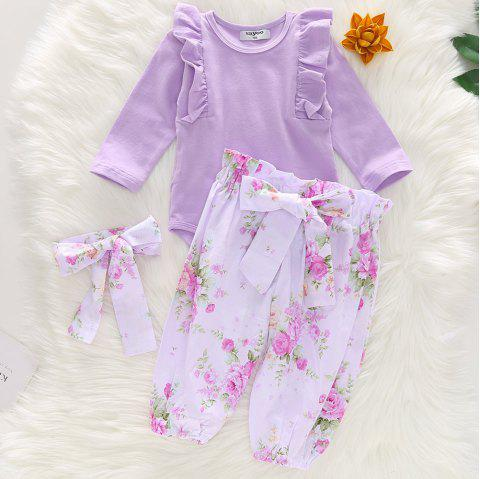 1217 Girls Cotton Printed Bow Romper Pants - MAUVE 3-4YEARS(100CM)