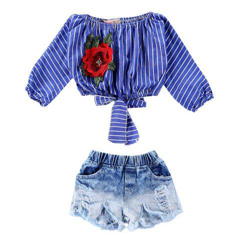 1099 Girls Rose Embroidered Top Cotton Denim Shorts Suit - OCEAN BLUE 5-6YEARS(120CM)