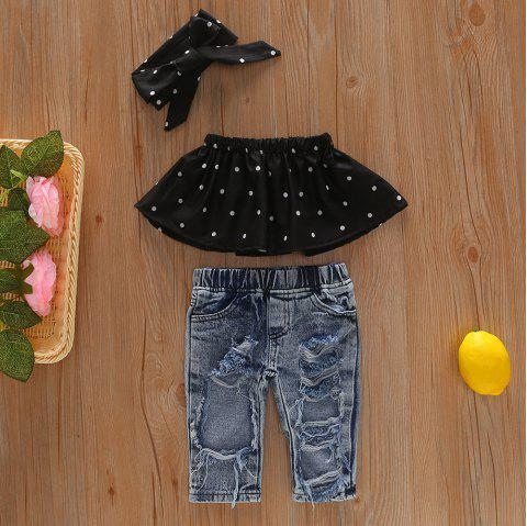 96 Girls Off Shoulder T-shirt Denim Trousers Headband Suit - BLACK 5-6YEARS(120CM)