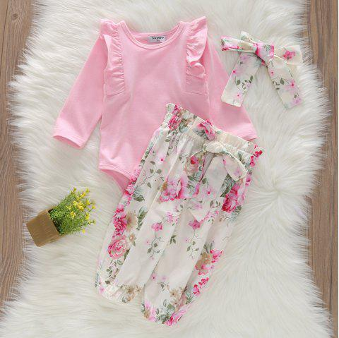 1217 Girls Cotton Printed Bow Romper Pants - PINK 3-4YEARS(100CM)