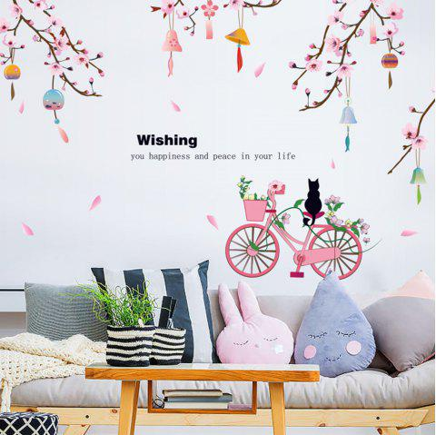 SK9357 Peach Flower Bicycle Wall Sticker - multicolor