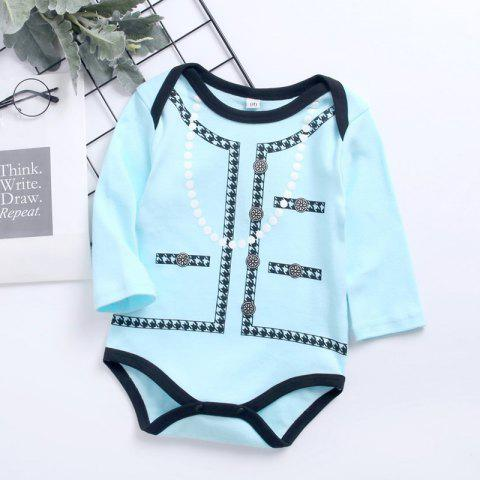 Cotton Boy Triangle Long-sleeved Printed Romper for Children - BLUE ZIRCON 9-15MONTH(95)