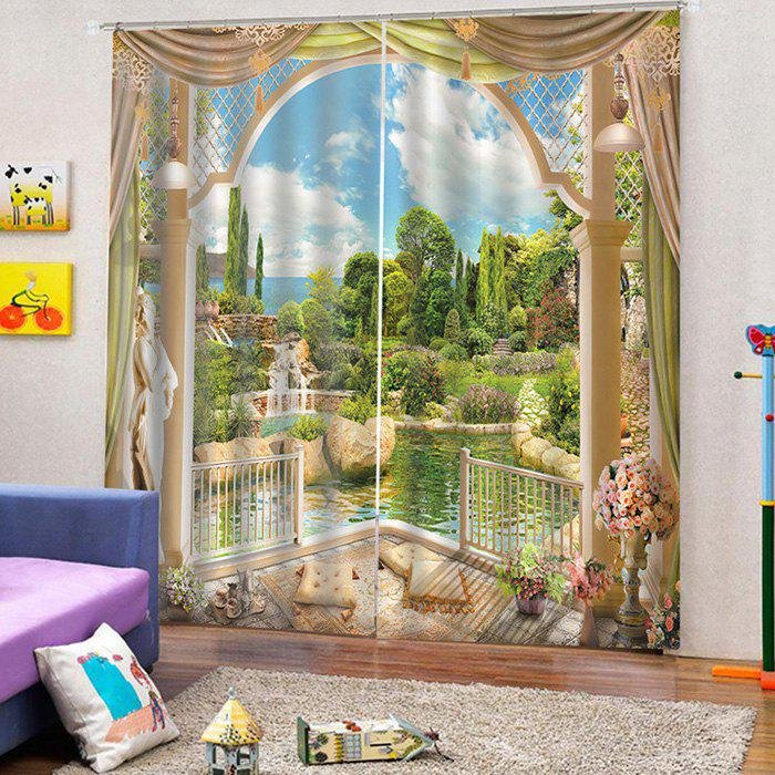 3D Landscape Curtain for Home Use - multicolor A W33.5 X L79 INCH X 2PCS