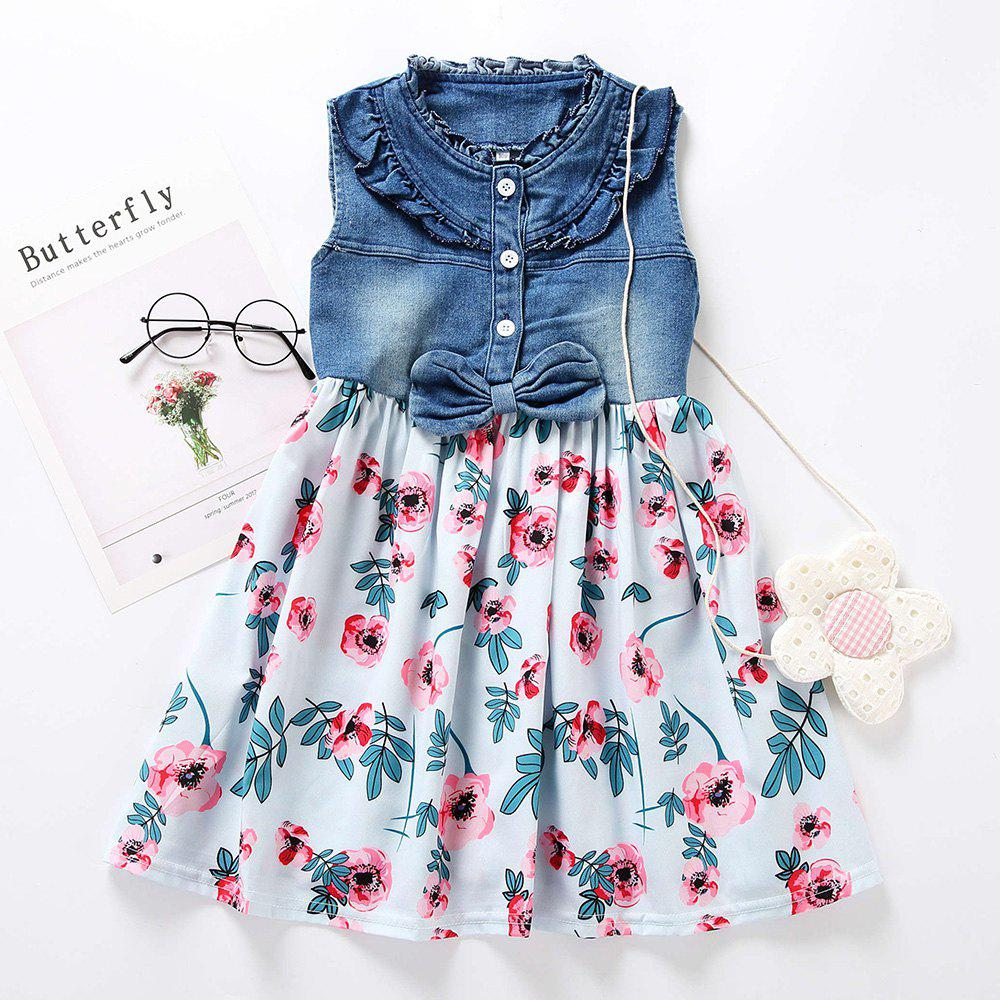 M0368 Girls Fashion Denim Stitching Dress - DENIM DARK BLUE 120CM(3-4Y)