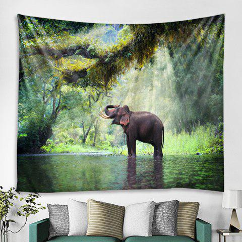 Home Decoration Forest Elephant Pattern Tapestry - DARK SEA GREEN 230 X 180CM