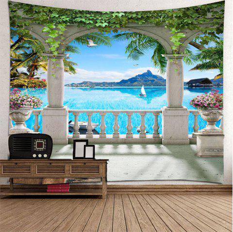 Beautiful 3D Sea View Tapestry Home Decoration - multicolor A W230 X L180CM