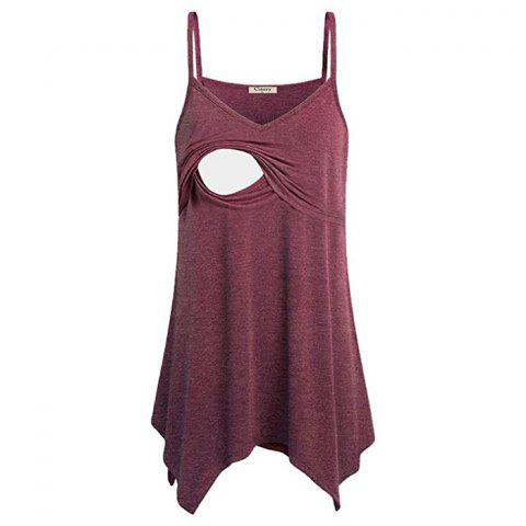 Women Shoulder Vest Sling Breastfeeding Suit - RED WINE L