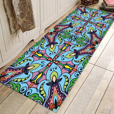 Home Vintage Flannel Printed Carpet - DARK TURQUOISE W24 X L71 INCH