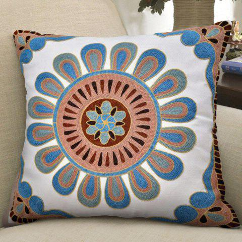 Cotton Wool Embroidered Single-sided Pillowcase - multicolor