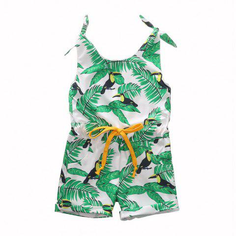 1304 Girls Polyester Leaf Print Tether Strap Romper - GREEN ONION 5-6YEARS(130CM)