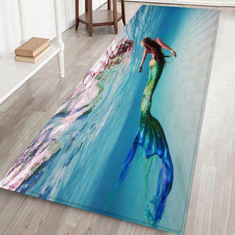 Underwater Mermaid Floor Mat Carpet - CORAL BLUE W24 X L71 INCH