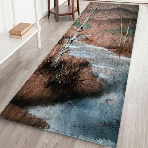 Tree Oil Painting Mat Carpet - multicolor A W24 X L71 INCH