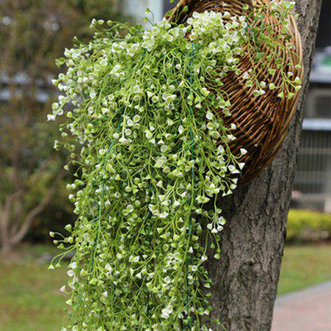 Simulation Gold Bell Willow Hanging Plant Vine 1 Bunch ( Excluding Flower Basket ) - WHITE