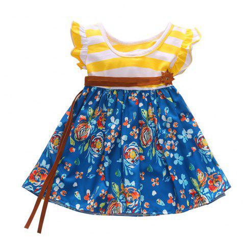 1301 Girls Cotton Striped Flying Sleeve Floral Dress + Belt - YELLOW 5-6YEARS(130CM)