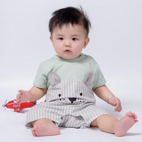 Baby Stitching Cartoon Bear Short-sleeved Romper - PALE BLUE LILY 12-18MONTH(90)