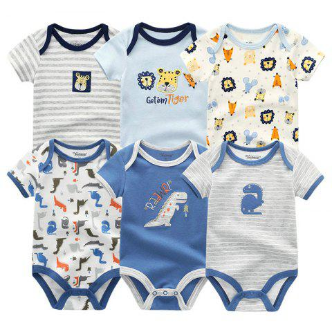 KIDDIEZOOM Baby Cartoon Triangle Romper Jumpsuit 6pcs - multicolor E 9 - 12 MONTHS