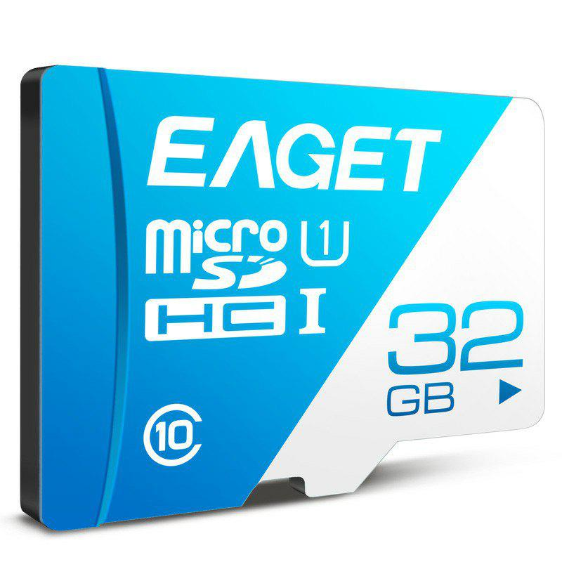 EAGET T1 Class 10 High Speed Micro SDHC UHS-I Flash TF Memory Card - DAY SKY BLUE 32G