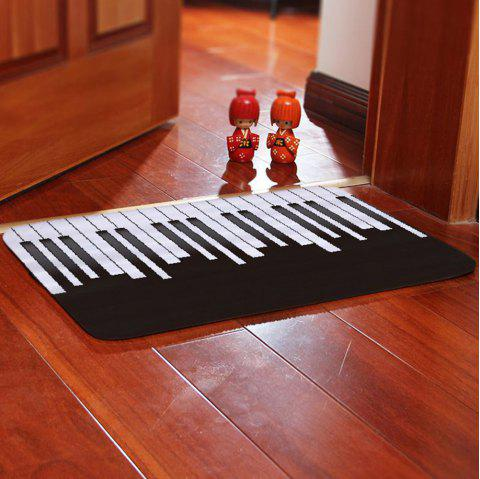Creative Simple Piano Black / White Key Printing Carpet - BLACK W16 X L24 INCH