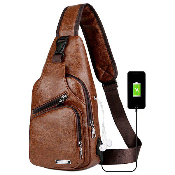 USB Charging Chest Bag Casual Fashion - COFFEE