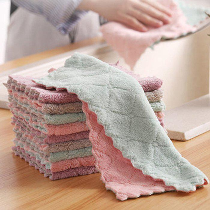 Household Dishwashing Cleaning Cloth Kitchen Towel Absorbent Bamboo Fiber Cloth Oil Wiping Tablecloth 10pcs - multicolor A 10PCS