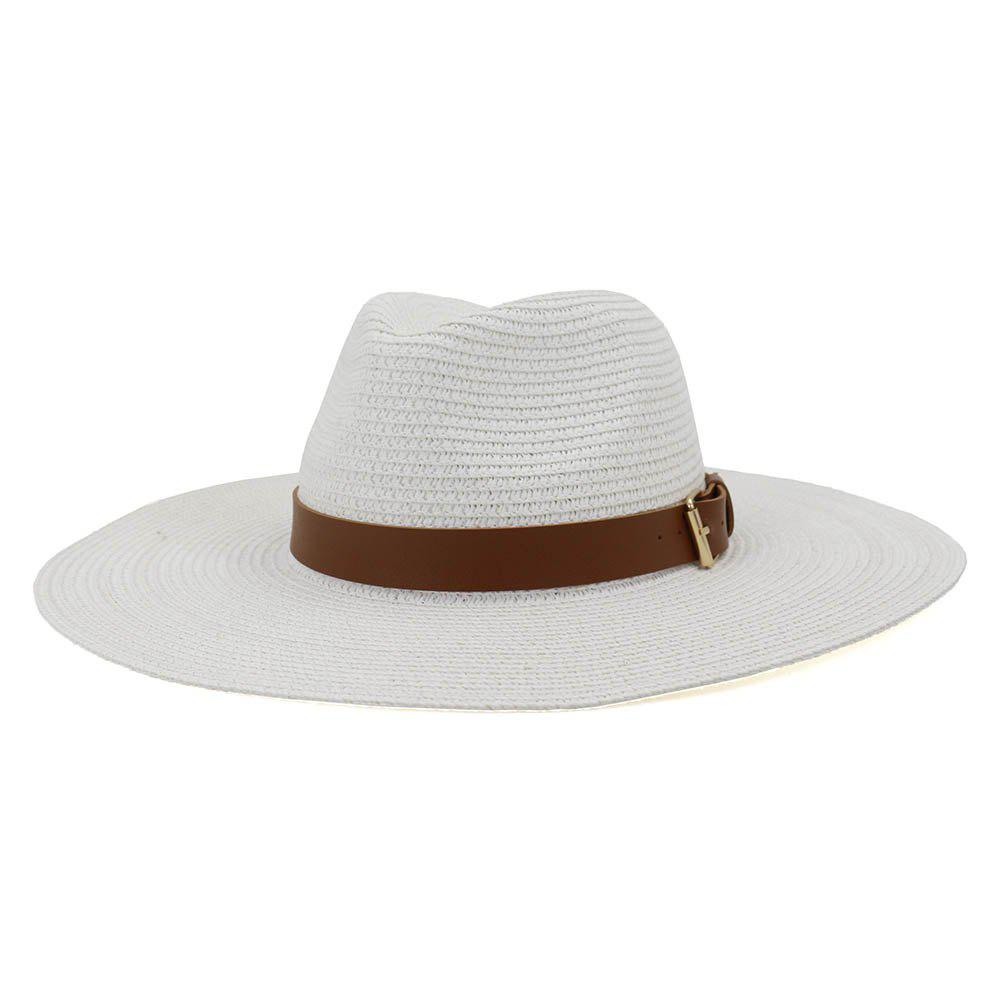 British Style New Spring Summer Large Brimmed Straw Hat Sir Outdoor Travel Tourism Hat - WHITE