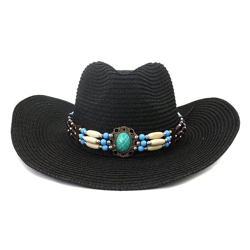 NZCM095 Outdoor Men Women Hat Seaside Beach Sun Cowboy Hat - BLACK