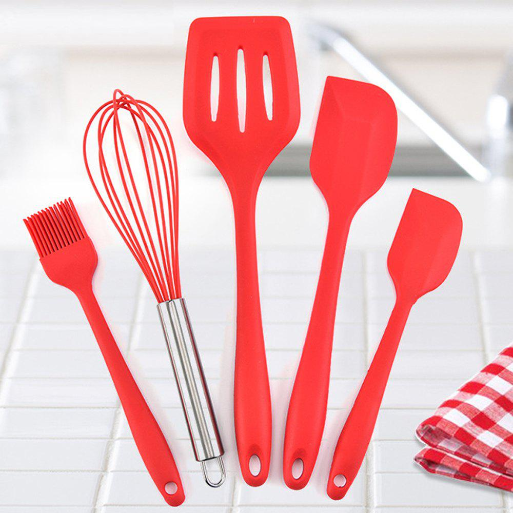 5PCS Silicone Kitchen Utensil Non-stick Cooking Tools - RED