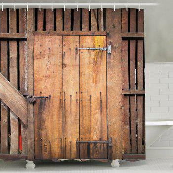 Vintage Wood Door Print Polyester Fabric Shower Curtain
