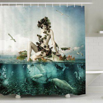 Waterproof Mouldproof Mermaid Shape Print Shower Curtain