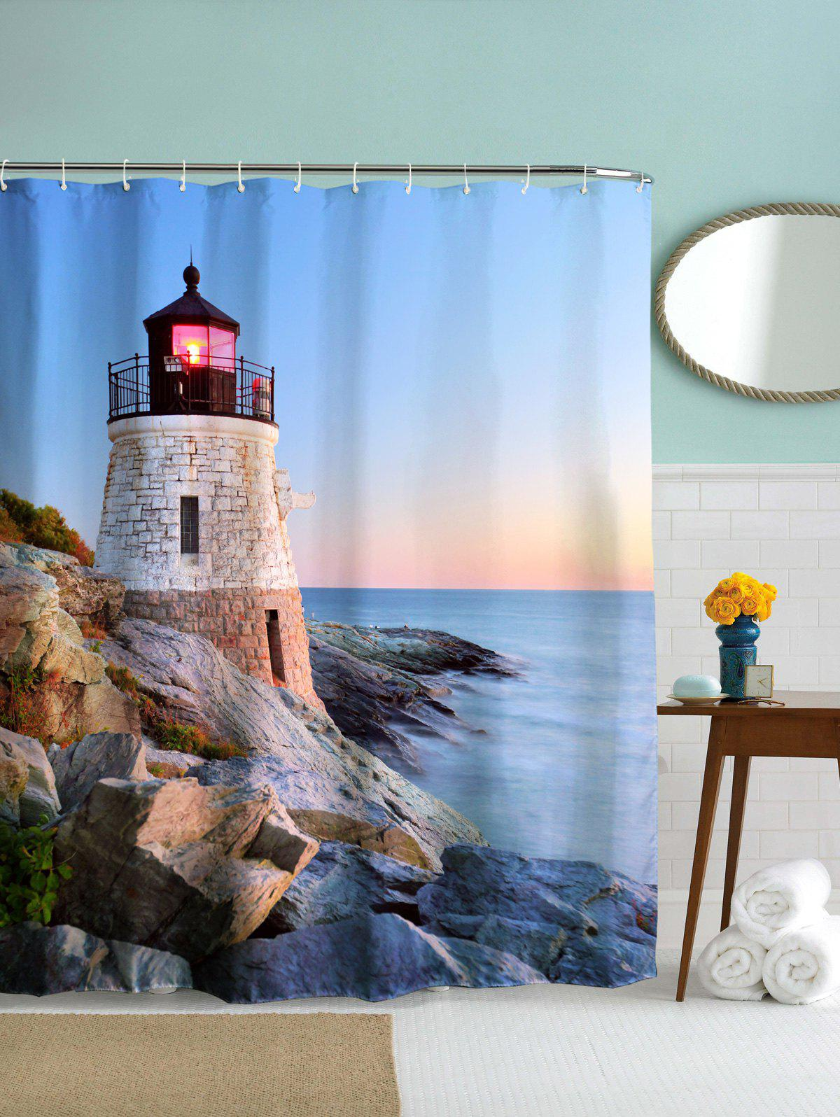 Waterproof Fabric Sea Lighthouse Scenery Bath Shower Curtain - MEDIUM BLUE 180CM*180CM