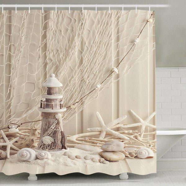 Waterproof Mouldproof Beach Print Shower Curtain - APRICOT 150CM*180CM