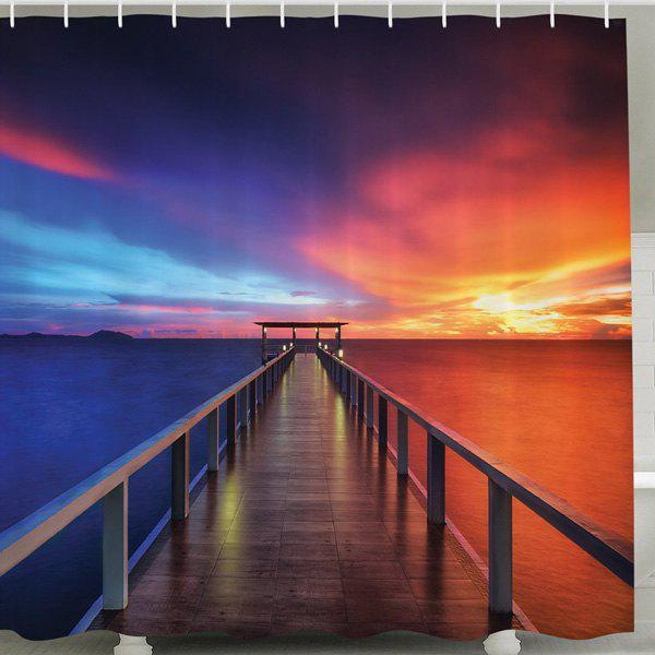 Waterproof Mouldproof Setting Sun Print Shower Curtain - CADETBLUE 150CM*180CM