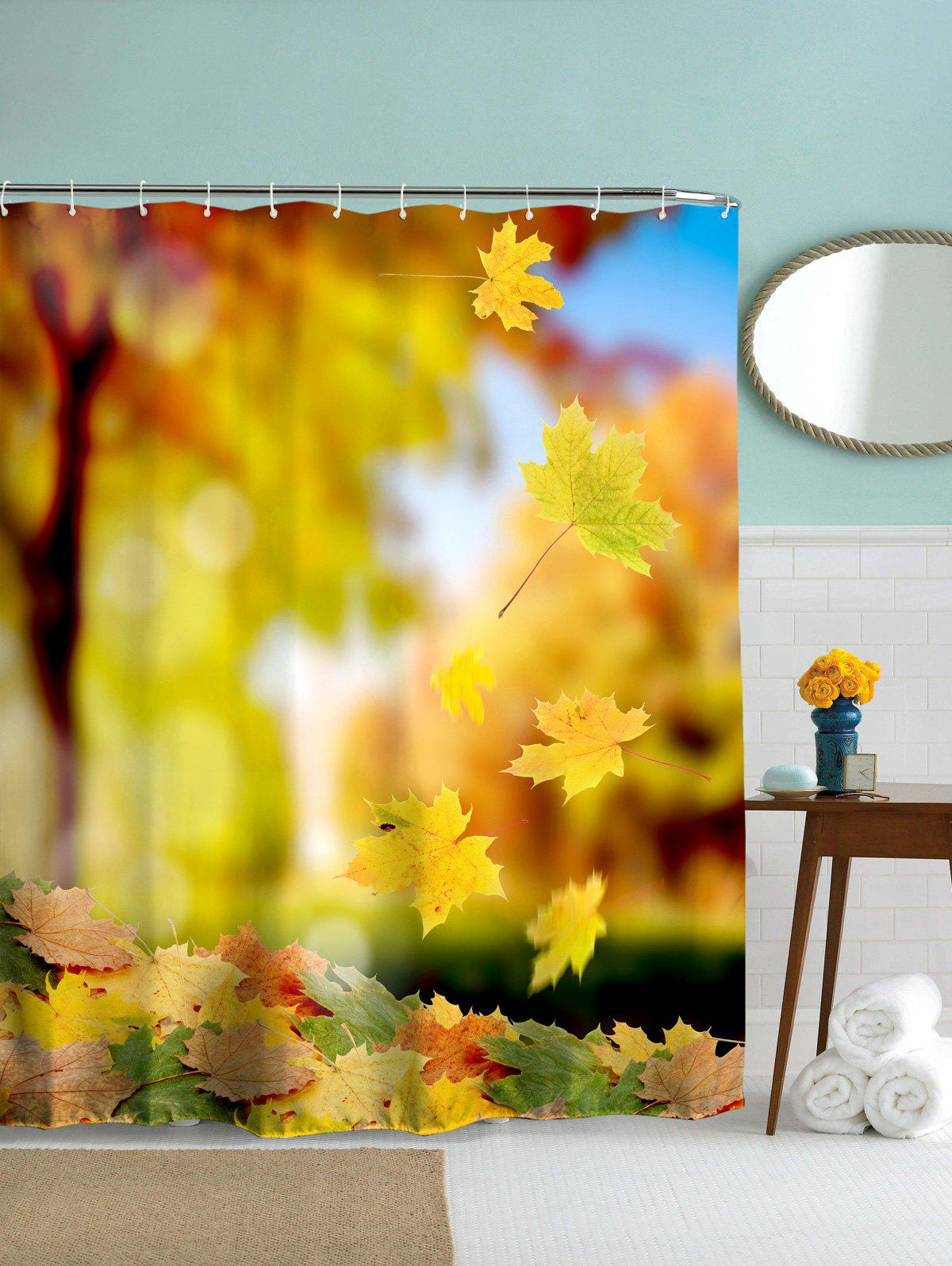 Waterproof Mouldproof Maple Leaves Print Shower Curtain watercolor shell mouldproof bath shower curtain