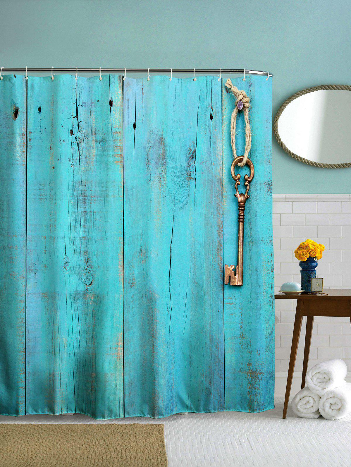 Polyester Shower Curtain with Hooks For Bathroom - TURQUOISE 150CM*180CM